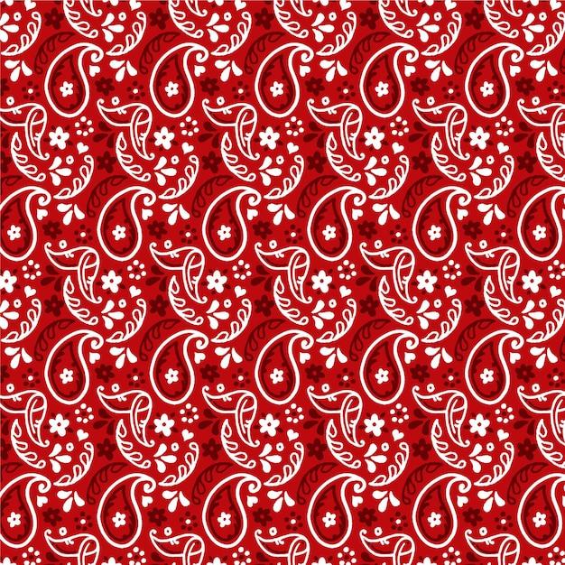 Donkerrood paisley bandana naadloos patroon Gratis Vector