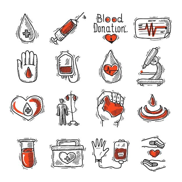Donor icon set Premium Vector
