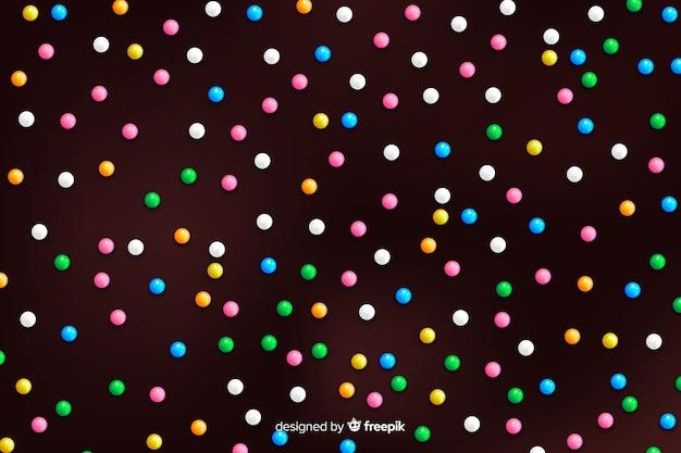 Donut glazuur met kleurrijke ronde hagelslag Gratis Vector