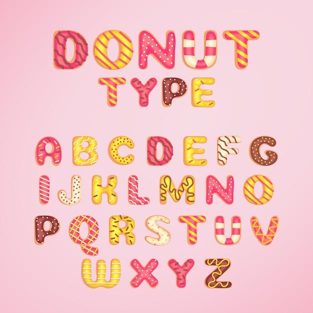 Donut lettertype sjabloon cartoon stijl Gratis Vector