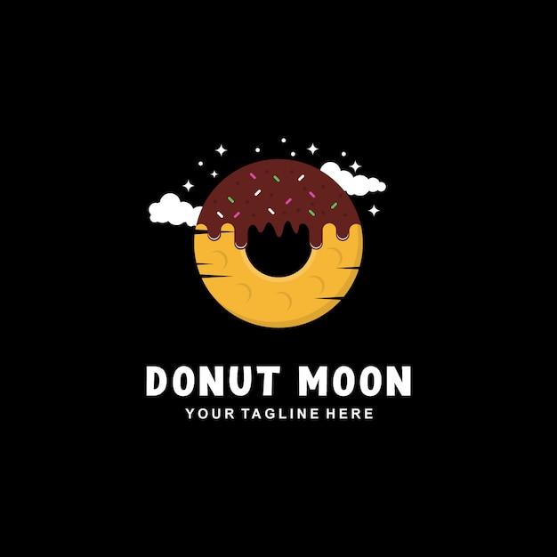Donut moon logo-ontwerp met vlakke stijl Premium Vector