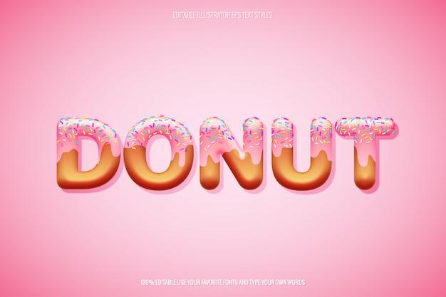 Donut tekststijl met gelaagde hagelslag decoratie Premium Vector