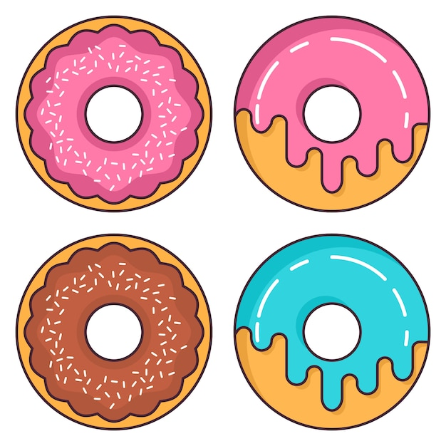 Donuts aardbei en chocolade glazuur. Premium Vector