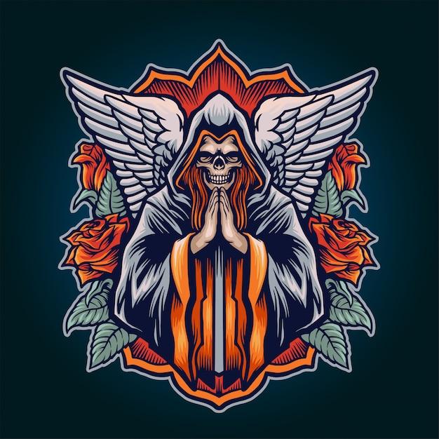 Dood engel illustratie Premium Vector