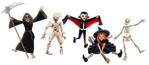Dood met zeis, mummie, dracula-vampier, heks op bezemsteel en skelet. set tekens halloween-feest. geïsoleerd op wit cartoon afbeelding Premium Vector