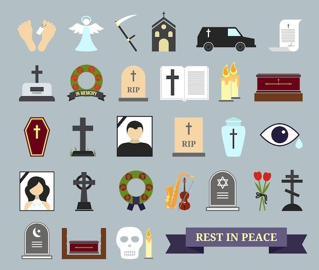 Dood, ritueel en begrafenis gekleurde pictogrammen. webelementen met als thema de dood, de begrafenisceremonie. Gratis Vector