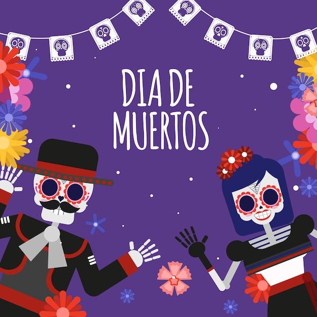 Dood schedelpaar dia de los muertos illustration Premium Vector