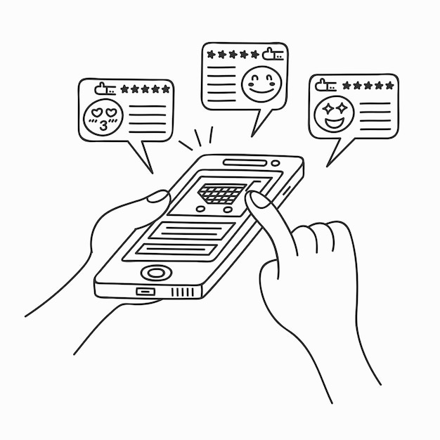 Doodle art cartoon tekenstijl van mensen kopen van producten winkelen mobiele toepassingen. Premium Vector