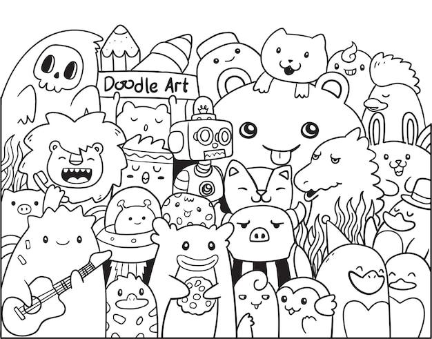 Doodle art chibi monster en dieren Premium Vector