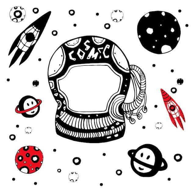 Doodle astronomische objecten instellen. hand getekend kosmische vectorillustratie. Premium Vector