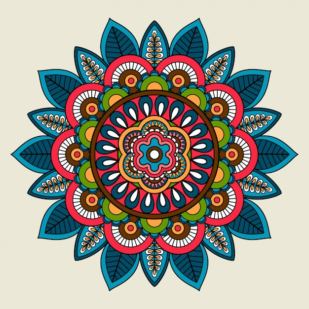 Doodle boho bloemen gekleurde mandala Premium Vector