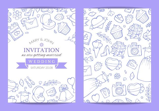 Doodle bruiloft uitnodiging sjabloon poster illustratie Premium Vector