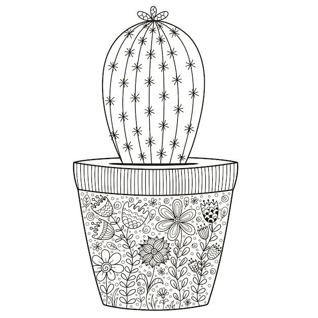 Doodle cactus in de pot met florale sieraad voor kleurboek Premium Vector