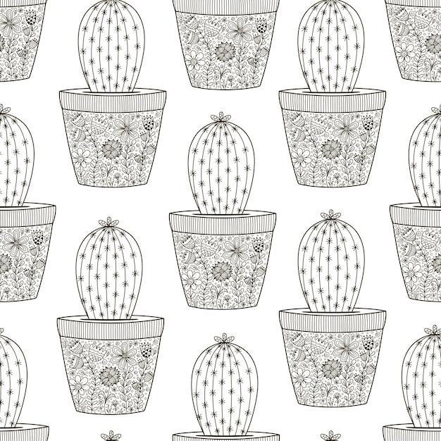 Doodle cactus naadloze patten Premium Vector