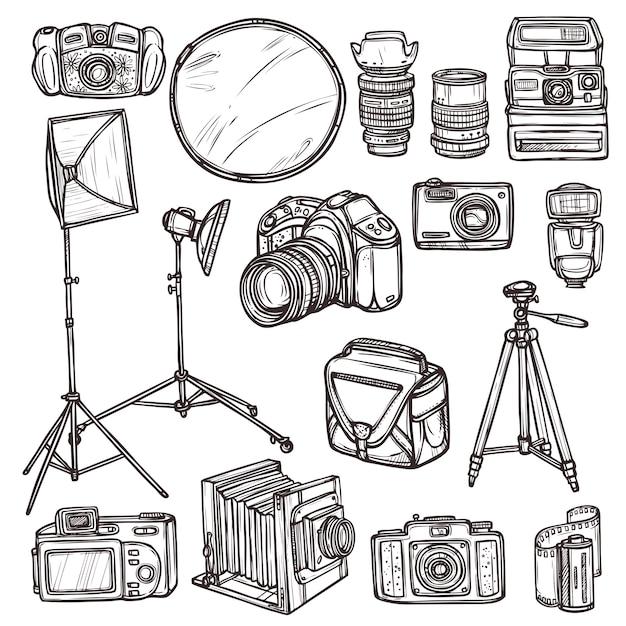 Doodle camera pictogrammen instellen Gratis Vector