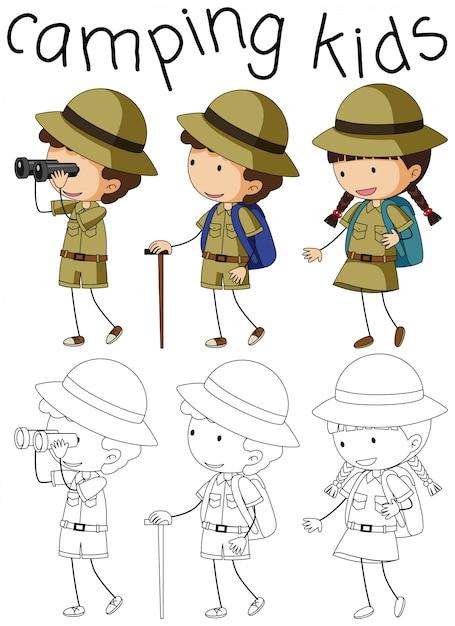 Doodle camping kinderen karakter Gratis Vector