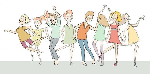 Doodle collectie cartoon dansers Premium Vector