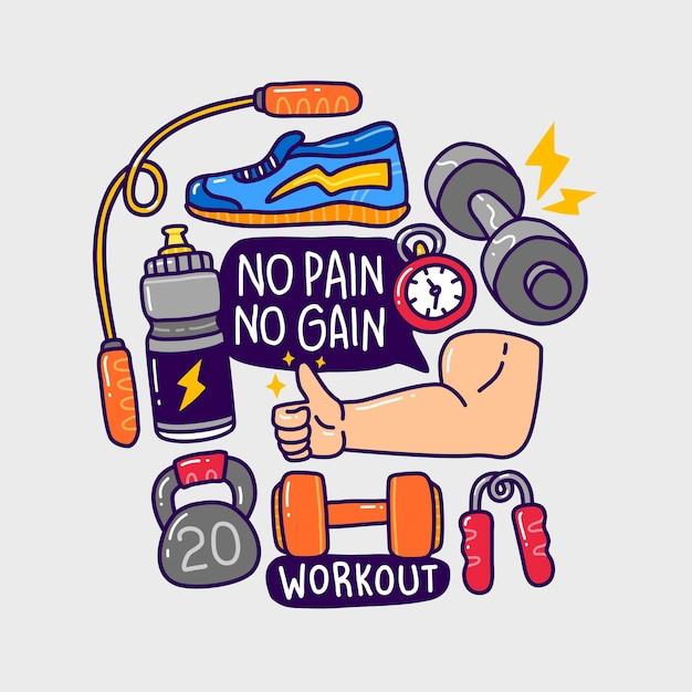 Doodle collectie set gym fitness-element. Premium Vector