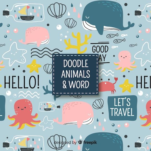 Doodle dieren en woorden patroon Gratis Vector