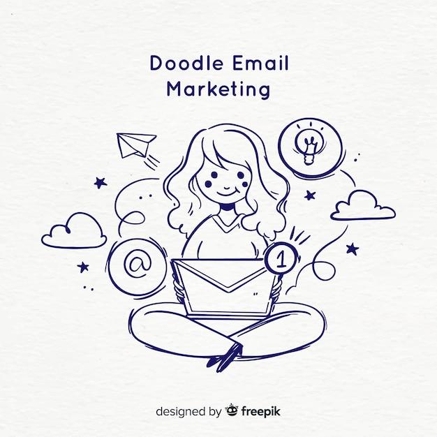 Doodle e-mailmarketing Gratis Vector