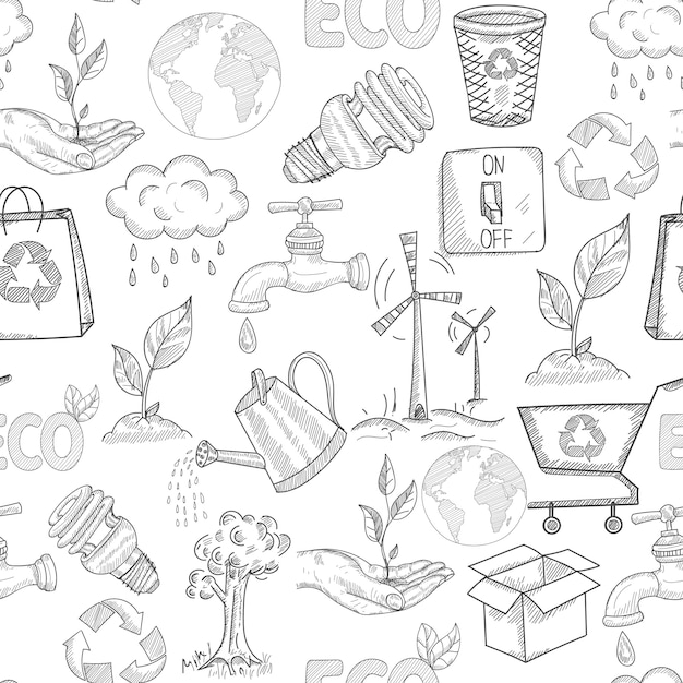 Doodle ecologie naadloze patroon met planten natuurbehoud symbolen vectorillustratie Gratis Vector