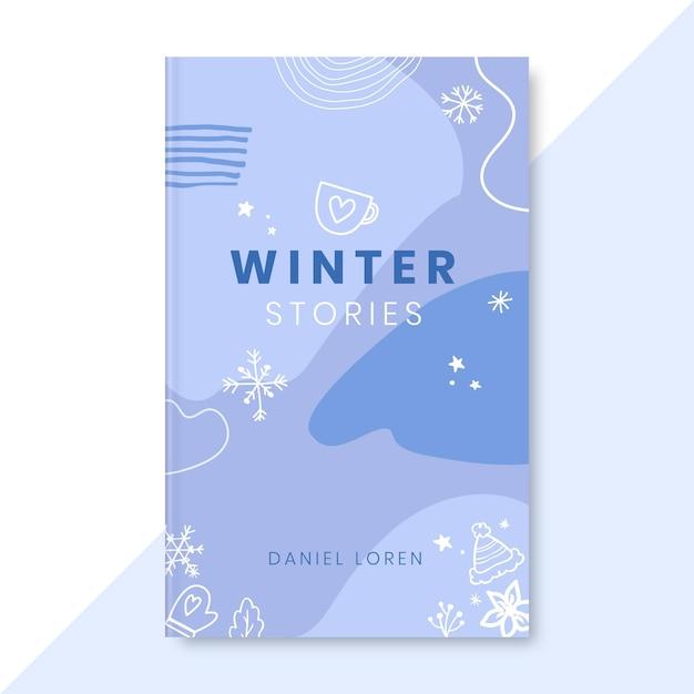 Doodle eenkleurige winterboekomslag Gratis Vector