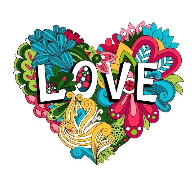 Doodle floral hart met liefde belettering voor valentijnsdag kaart Premium Vector