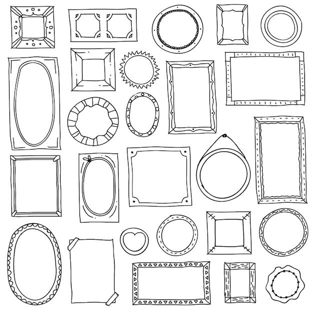 Doodle fotolijst. hand getrokken vierkante ovale fotolijsten, plakboek krabbel journaling grenzen. retro schets Premium Vector