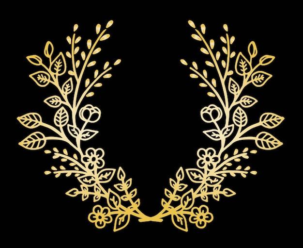 Doodle frame met bloemen Premium Vector