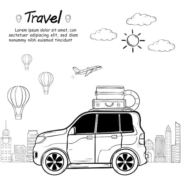 Doodle hand draw car cartoon reiziger met rook en activa reizen rond de wereld concept isoleren Premium Vector