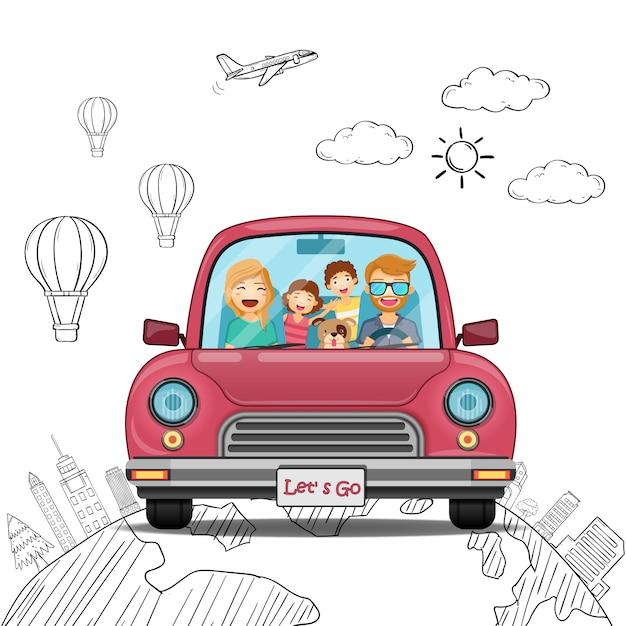 Doodle hand draw car man vrouw jongen meisje en familie cartoon reiziger met rook en activa reizen rond de wereld-concept. Premium Vector
