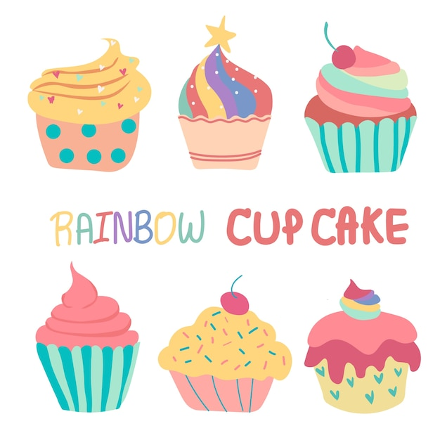Doodle hand getekende regenboog schattige cup cake Premium Vector