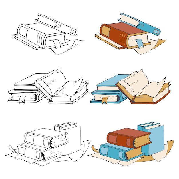 Doodle, hand getrokken schetsboeken pictogrammen en elementen in kleur met monsters Premium Vector