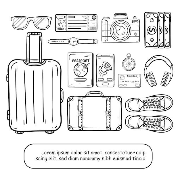 Doodle hand tekenen bagage en accessoires reizen rond de wereld concept zomer. Premium Vector