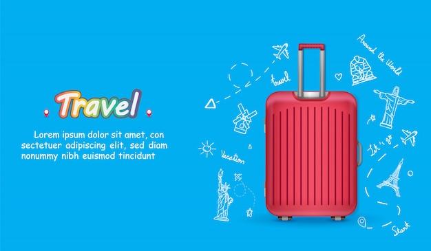 Doodle hand tekenen reiziger met bagage. vliegtuig inchecken reisaccessoires over de hele wereld. Premium Vector