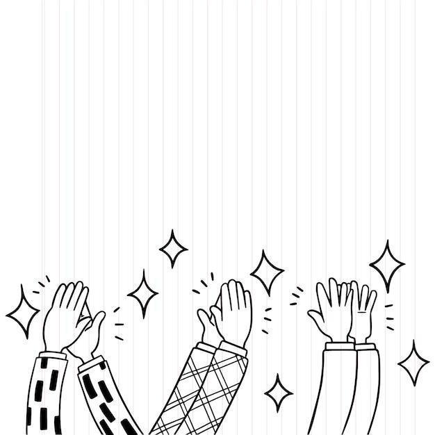 Doodle handen klappen ovatie applaus vector illustratie Premium Vector