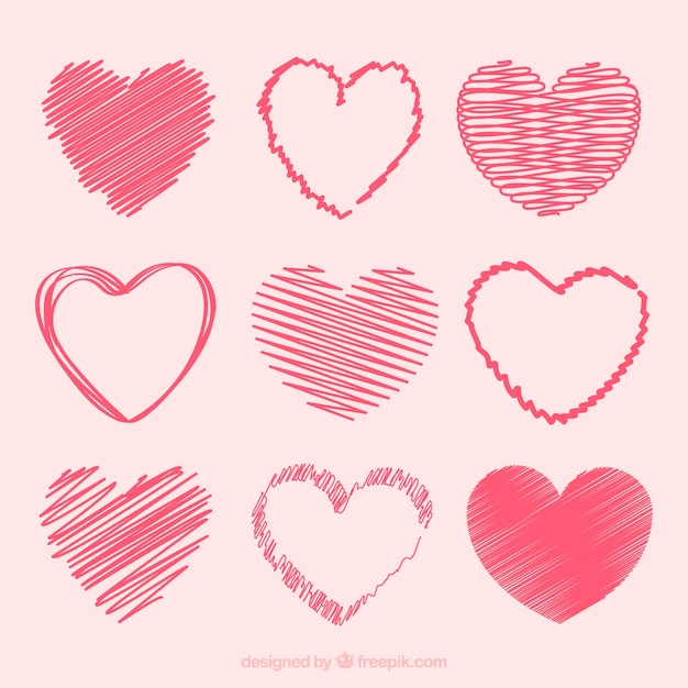 Doodle hart collectie Gratis Vector