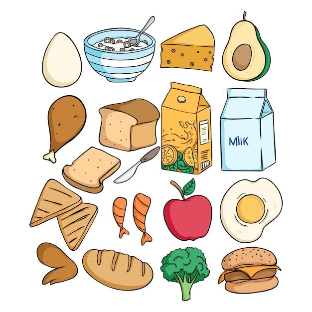 Doodle heerlijk ontbijt eten collectie Premium Vector
