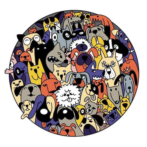 Doodle honden gezichten kleurrijke achtergrond, hand getrokken illustratie van doodle Premium Vector