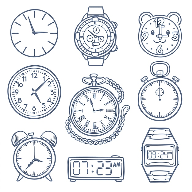 Doodle horloge, klok vector iconen. hand getrokken tijd vector iconen geïsoleerd. klok en weergavetijd, illustratie van alarmtekening, doodle-chronometer Premium Vector