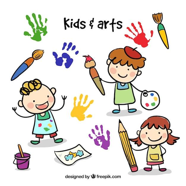Doodle kinderen met kunstzinnige elementen Gratis Vector