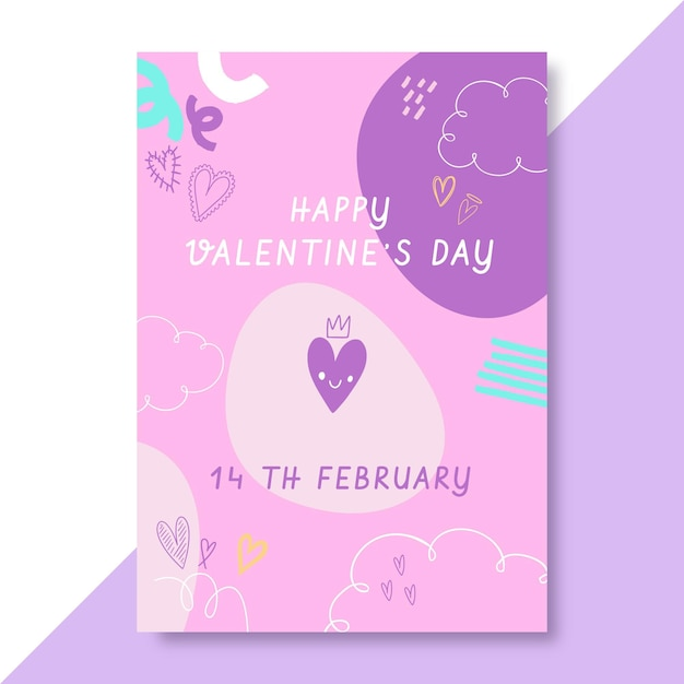 Doodle kinderlijke valentijnsdag poster Gratis Vector