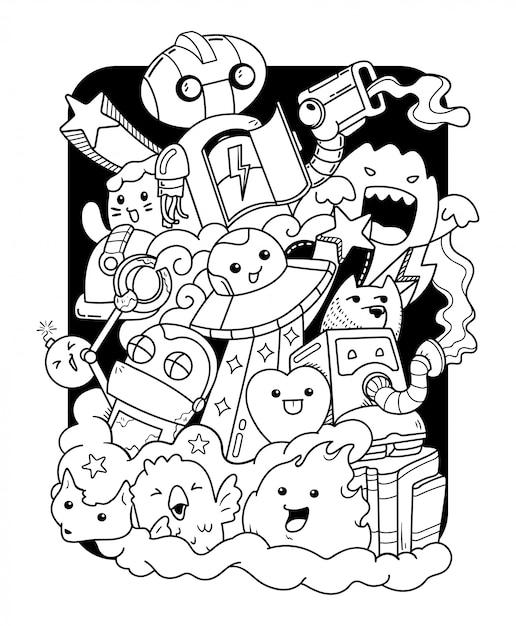 Doodle kunst illustratie Premium Vector