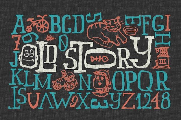 Doodle lettertype ingesteld met grappige illustraties Gratis Vector
