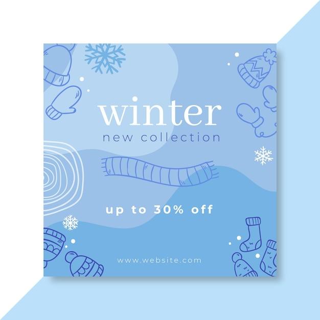 Doodle monocolor winter facebook-bericht Gratis Vector