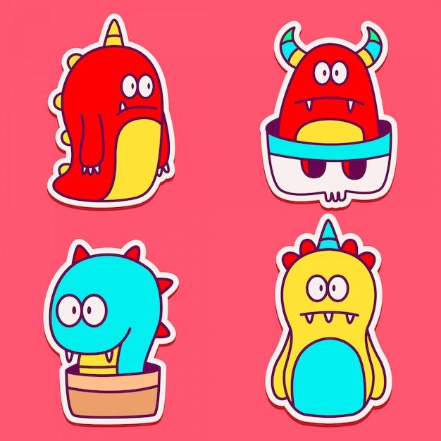 Doodle monster cartoon characterdesign sticker Premium Vector