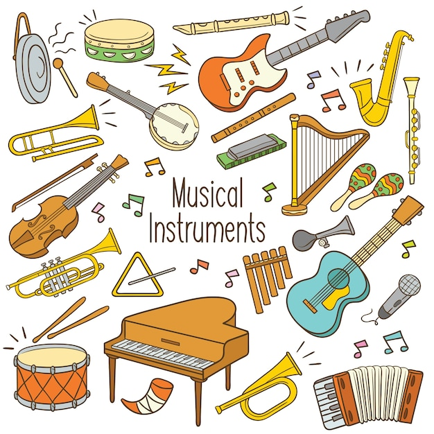 Doodle muziekinstrumenten Premium Vector