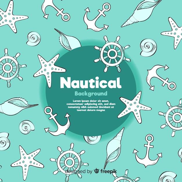 Doodle nautische achtergrond Gratis Vector