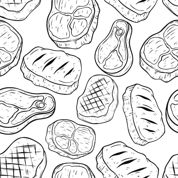 Doodle of hand tekening biefstuk in naadloze patroon Premium Vector