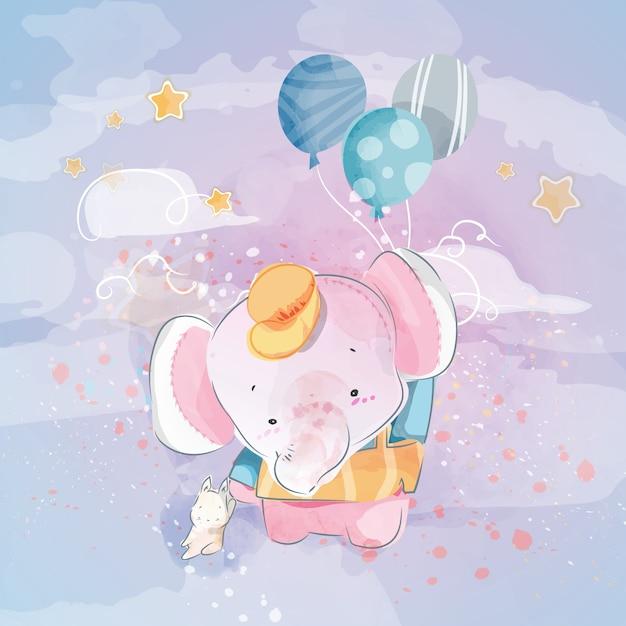 Doodle olifant schilderij aquarel in bloemen. Premium Vector